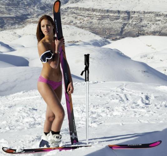 Jackie Chamoun Skiing Lebanon